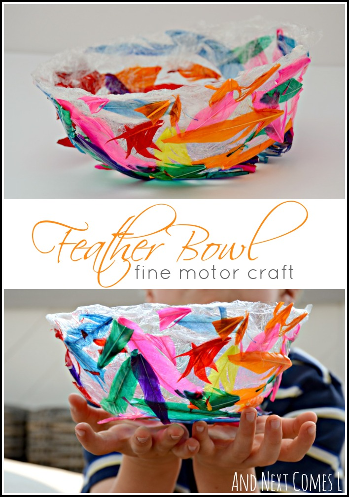 Colorful feather bowl fine motor craft for kids from And Next Comes L - part of the Everyday Fine Motor Materials from A to Z Series