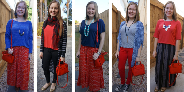 how to wear a red bag matching it to other clothes in your outfit | away from blue