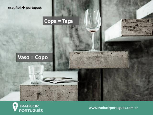 Como se dice copa y vaso en portugues