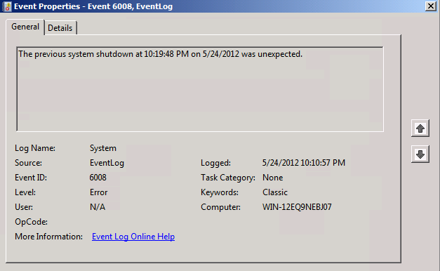 Terry L@u's blog: How to check unexpectedly shut down on Windows