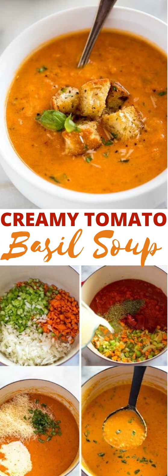 Creamy Tomato Basil Soup #dinner #soup #comfortfood #vegetarian #cooking