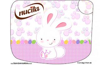 Conejito de Pascua en Cuadros Rosa: Etiquetas para Candy Bar para Imprimir Gratis..