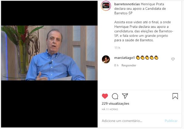 Henrique Prata do Hospital do Amor de Barretos-SP declara apoio a candidata PAULA LEMOS para Prefeita de Barretos (Barretos Noticias no Instagram)