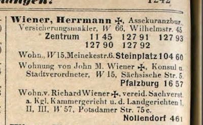 1915 Berlin address book - Hermann Wiener insurance bureau