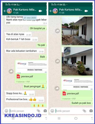 Tiang Stainless Penyangga Canopy Beton pesanan Bpk Kartono di Perum Nirwana Estate - Order Kedua