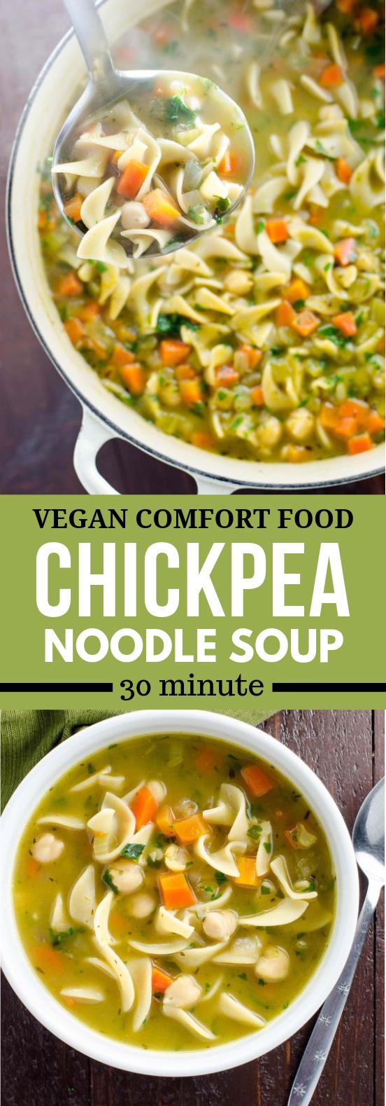 Chickpea Noodle Soup: Vegan Comfort Food #veggies #vegetables
