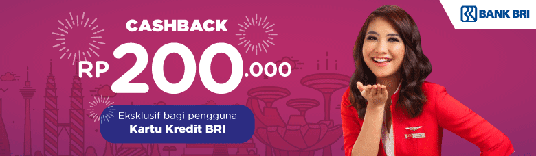 Bank BRI - Promo Cashback 200Ribu Beli Tiket AirAsia Pakai Kartu Kredit BRI