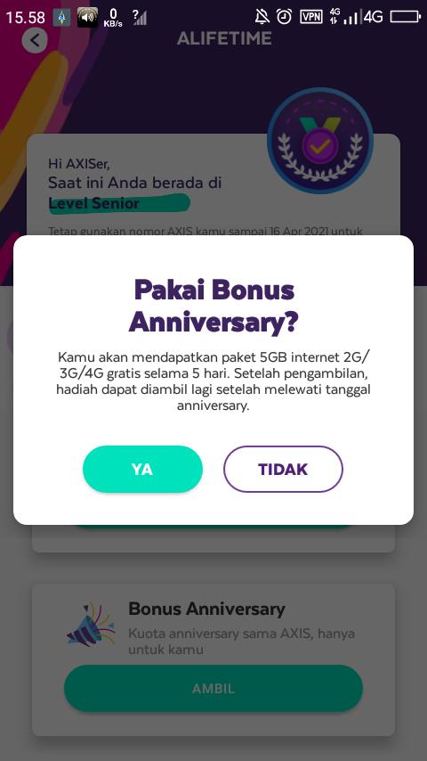 Kuota gratis anniversary Axis 5 gb di aplikasi axisnet