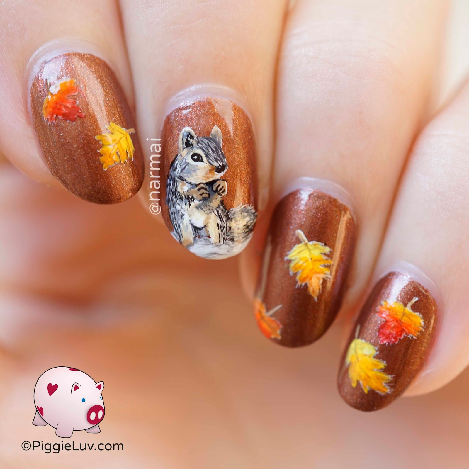 PiggieLuv: Autumn squirrel nail art