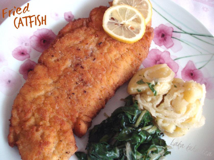 Fried catfish by Laka kuharica: crispy fried catfish coated in aromatic crust.
