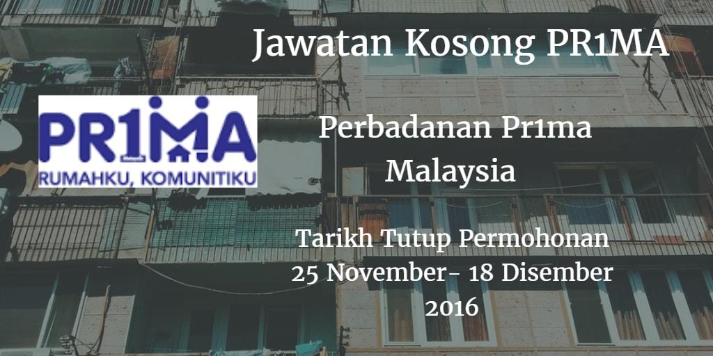Jawatan Kosong PR1MA 25 November - 18 Disember 2016