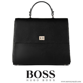 Queen Letizia carried BOSS Bespoke handbag in smooth leather