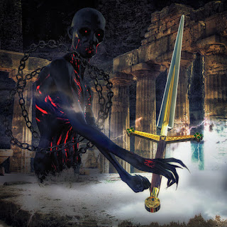 Dark Fantasy Artwork, A Shadowy Wraith holds a gleaming sword within ancient ruins
