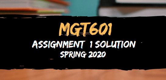 MGt601 Assignment 1 Solution Spring2020