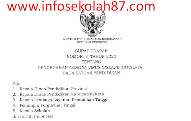 18 Intruksi Mendikbud Untuk Pencegahan Virus Corona SE Mendikbud Nomor 3 Tahun 2020