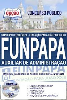 concurso-publico-funpapa-belem-2018-apostila-cargo-auxiliar-de-administracao