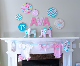 pink and aqua elephant baby shower
