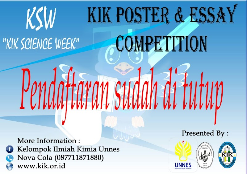 Penutupan Pendaftaran KIK Essay and Poster Competition KSW 2016