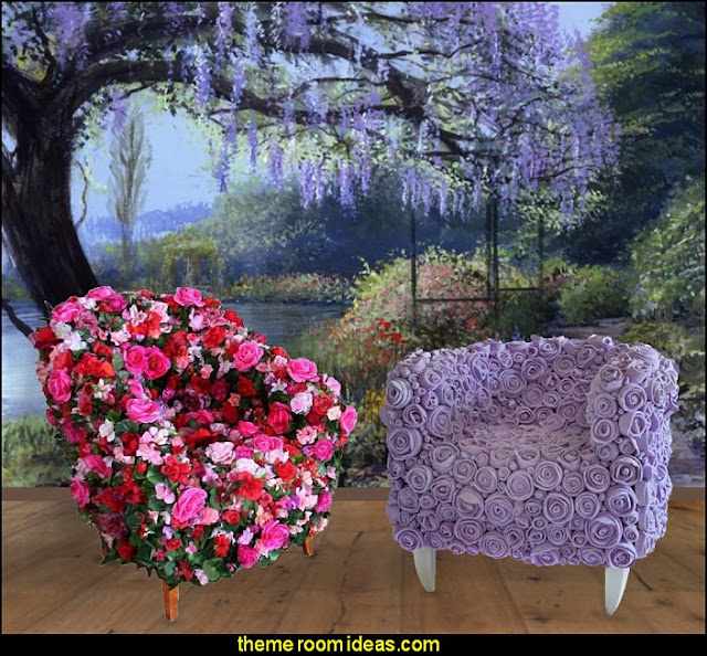 floral chairs flower garden bedroom furniture  Garden Themed Bedrooms - decorating butterfly garden themed bedrooms - garden theme decor - floral bedding - flower theme bedding - flower wall decals - garden themed wall murals - ladybug bedroom ideas - garden wallpaper murals - flower wall decals - cottage garden theme bedroom furniture - house theme bed - adult garden theme bedrooms - floral bedding - Leaf chair