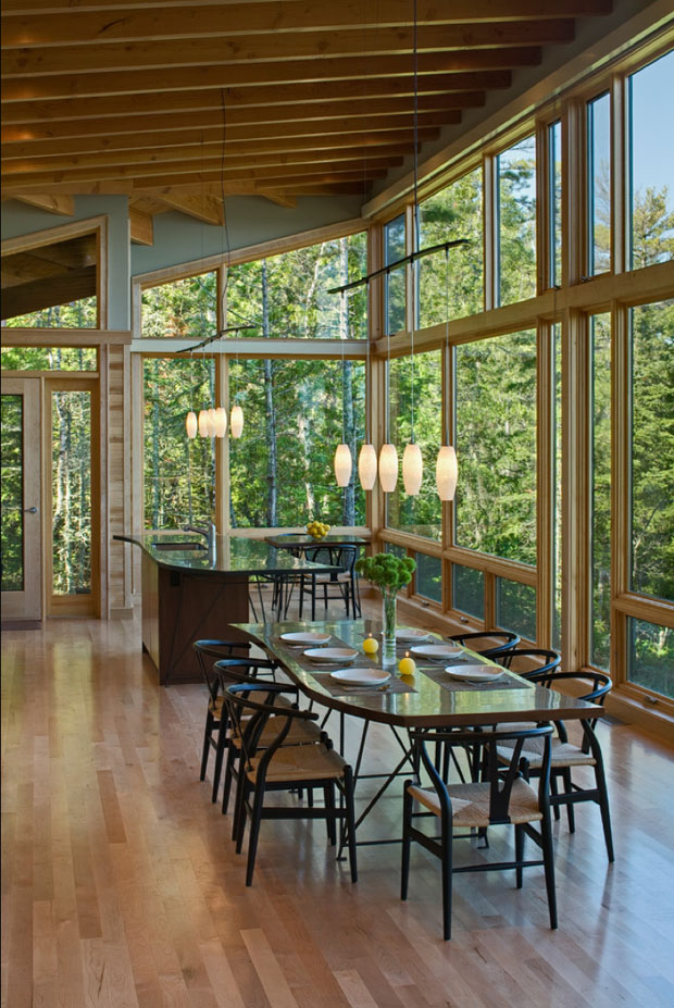 Black Oak Wishbone Chairs with Natural Papercord Seats (Architecture by FINNE Architects, Eagle Harbor Cabin on Lake Superior).
