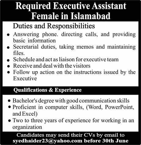Jobs for female in Islamabad