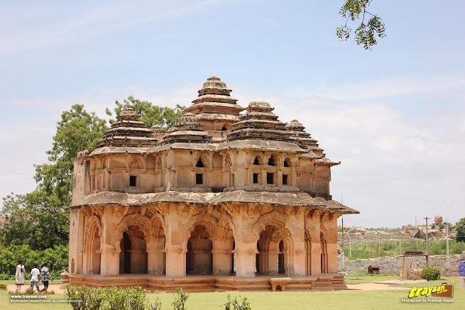 Lotus Mahal pavilion in Zenana Enclosure, Hampi
