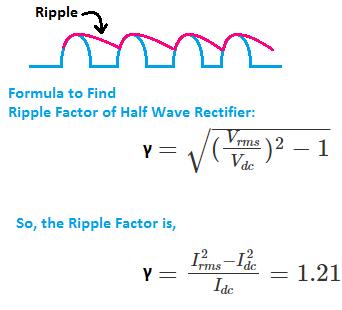 Ripple Factor of Half Wave Rectifier, half wave rectifier ripple factor value