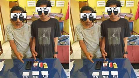 Tersangka dan barang bukti diamankan Polsek Linggo Sari Baganti