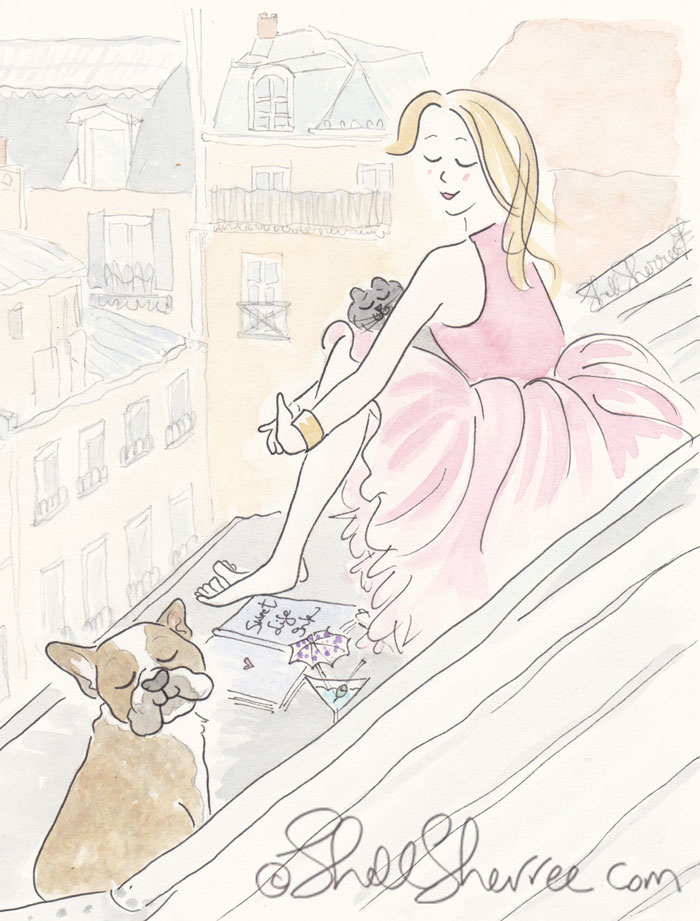 Paris illustration, Fashion & Fluffballs, Tutu Pink on Paris Rooftops  © Shell-Sherree