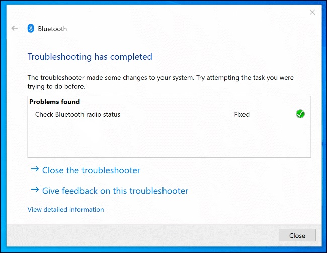 windows troubelshooter bluetooth