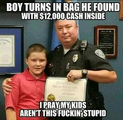 Boy turns in a bag
