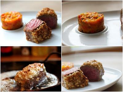 Bison-Rumpsteak sous vide unter der Walnuss-Pecorino-Haube mit Kürbis-Tomaten-Salsa | Arthurs Tochter kocht. Der Blog für Food, Wine, Travel & Love
