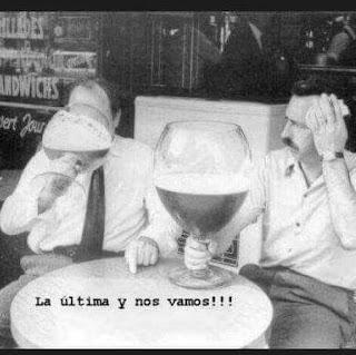 La última y nos vamos, cerveza, copa enorme