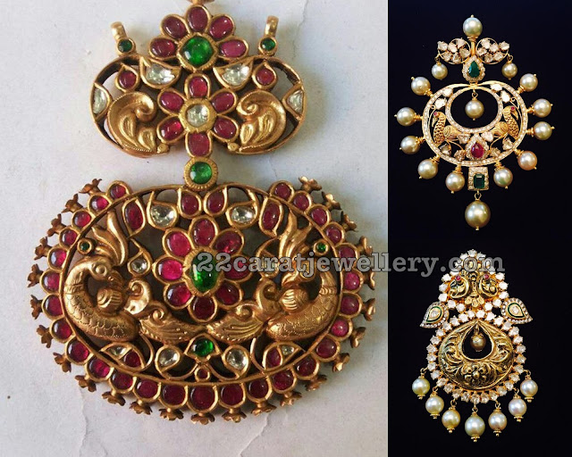 Nakshi Pendant Sets with Kundan and Moissanite