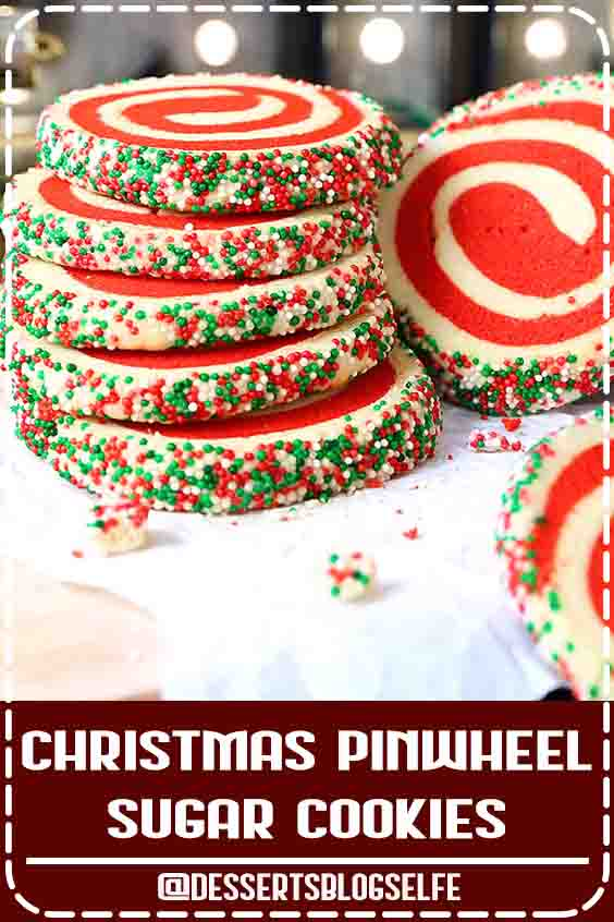 Christmas Pinwheel Sugar Cookies are fun festive and incredibly easy to make. This simple recipe will have you enjoying these tasty treats in no time. It is so easy you can use your favorite recipe or mine. Even store bought dough will work in a pinch. #DessertsBlogSelfe #ChristmasCookies #Pinwheel #DessertsforParties #christmas #creamcheeses