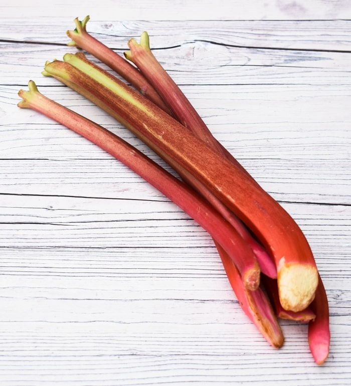 stalks of rhubarb