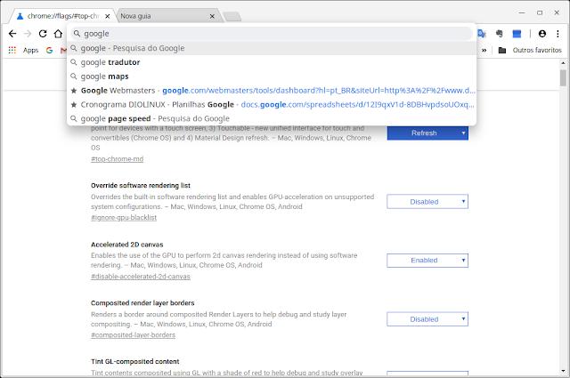 Configuração do Chrome