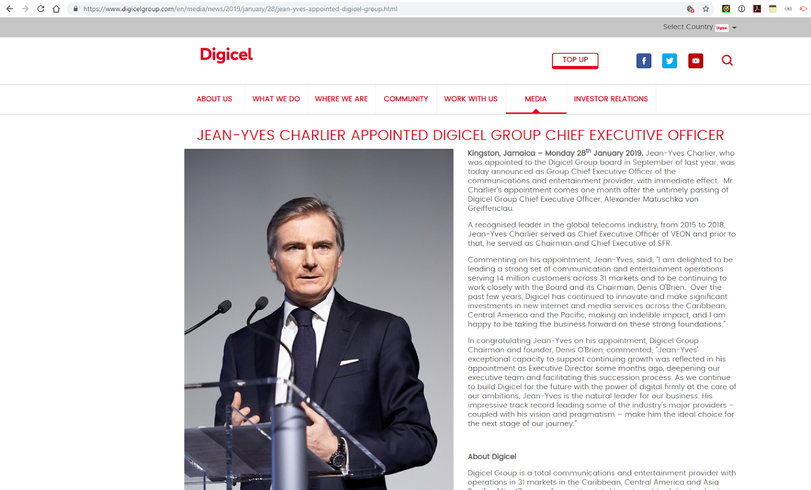 Digicel appoints Jean-Yves Charlier as CEO ~ Converge! Network Digest