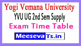 Yogi Vemana University YVU UG 2nd Sem Supply Exam Time Table 2017