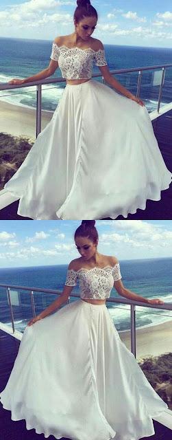 White lace blouse long skirt wedding Dress