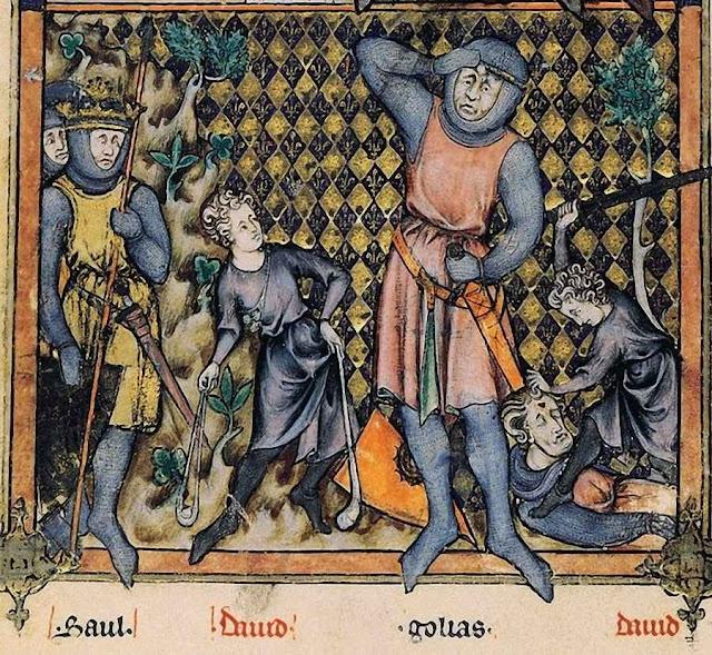 Davi contra Golias. Mestre Honoré, Breviário de Felipe o Belo (1296), BNF, folio7v.