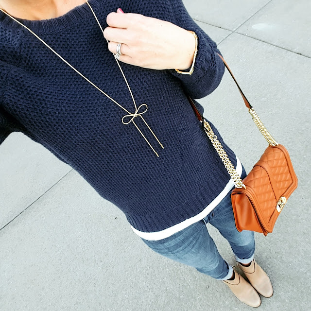 Mossimo Sweater - sold out online, still in store (similar) // Joes' Jeans - 33% off!  // Cole Haan Calixta Booties // Rebecca Minkoff Handbag (get in in blush or light blue for 40% off!) // Purple Peridot Bow Necklace