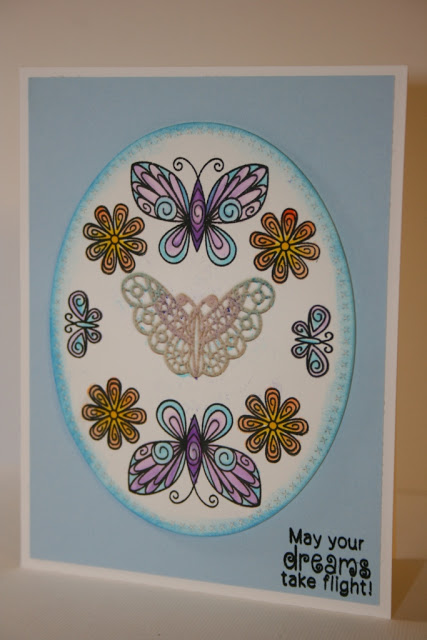 Butterfly and lace card by Juilien   Beautiful Wings stamp set by Newton's Nook Designs #newtonsnook