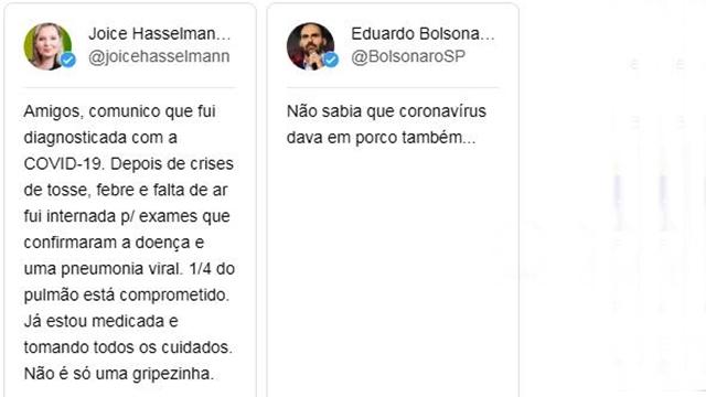 EDUARDO DEBOCHA DE DOENÇA DE JOICE: 'NÃO SABIA QUE CORONAVÍRUS DAVA EM PORCO'