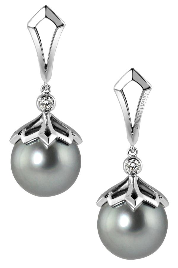 Brilliant Luxury♦Natural Grey Tahitian Pearl and Diamond 18 Karat White Gold Earrings