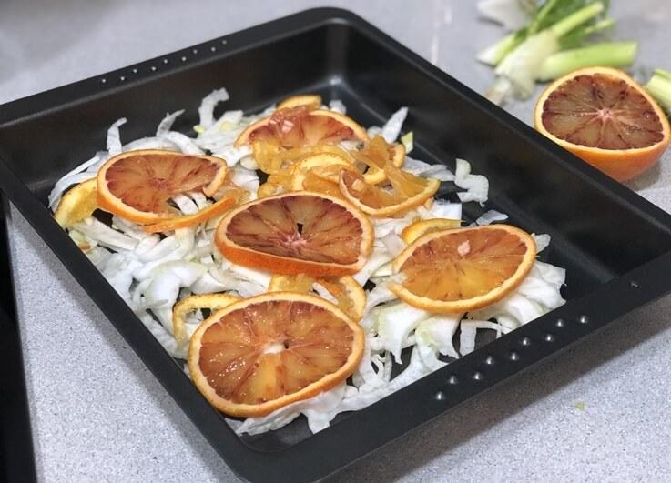 Caballa al horno con hinojo y naranja