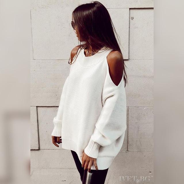 Μακρυμάνικη άσπρη γυναικεία μπλούζα MISHA