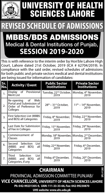 University of Health Sciences Lahore Admissions Open 2019