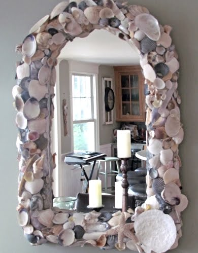seashell mirror on wicker frame