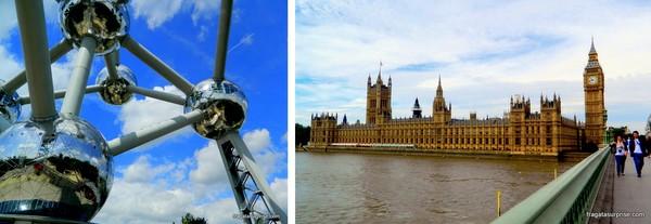Atomium de Bruxelas e Parlamento, em Londres